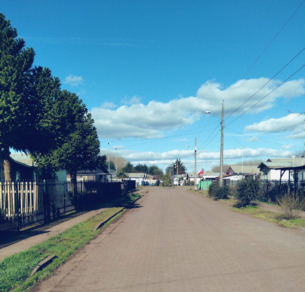 Calle El Riel, la principal de Villa El Tesoro en la Araucanía
